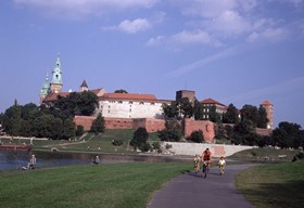 Wawel castle and Vistula river in Krakow